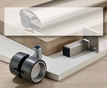 TABLE FITTINGS, TABLE BASES, FURNITURE FEET, CASTORS